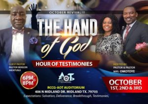 October is here 😀😀😀😀  Revival! Revival!!! Revival!!!!! OCTOBER 1st, 2nd, & 3rd 6pm - 8pm. RCCG-AOT, MIDLAND TX.